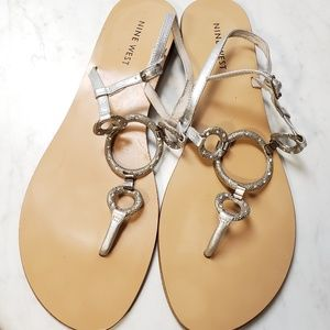 Ladies Silver Nine West Sandals
